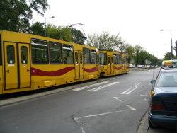 A tram on a warsaw street