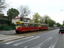 Warsaw Tram On A Side Street